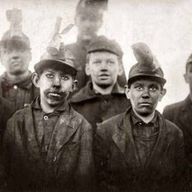 Group of young miners in Pennsylvania 1911